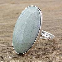 Jade cocktail ring, 'Pale Green Tonalities' - Handcrafted Minimalist Light Green Jade and Silver Ring