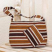 Cotton shoulder bag, 'Fertile Earth' - Guatemalan Brown Backstrap Loom Woven Cotton Shoulder Bag