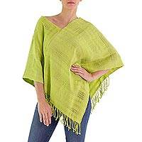 Cotton poncho, 'Lemon Green' - Guatemalan Loom Woven Yellow-Green Cotton Poncho