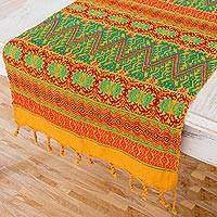 Cotton table runner, 'Guatemala Warmth' - Maya Handwoven Table Runner in Mustard, Green and Red