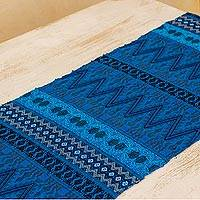 Cotton table runner, 'Blue Guatemala' - Maya Handwoven Blue Cotton Table Runner