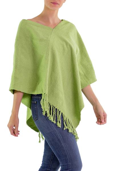 Backstrap Loom Guatemalan Apple Green Rayon Poncho
