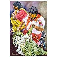 'Onions' - Guatemala Maya Merchants Original Oil on Canvas Portrait