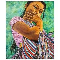 'Her Gaze' (2013) - Guatemala Original Oil on Canvas Portrait of a Maya Girl