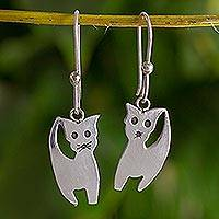 Sterling silver dangle earrings, 'Kitty Cats' - Thai Artisan Crafted Sterling Silver Cat Hook Earrings