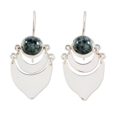 Dark Green Jade on Sterling Silver Artisan Crafted Earrings