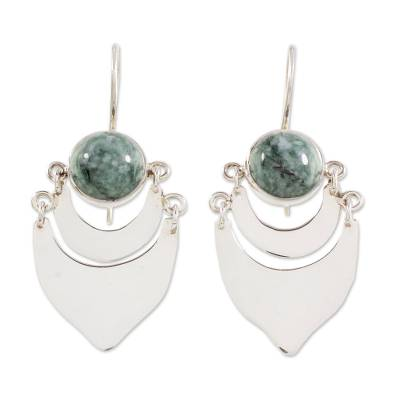 Light Green Jade on Sterling Silver Artisan Crafted Earrings