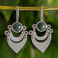 Jade dangle earrings, 'Two Moons' - Fair Trade Sterling Silver and Jade Hand Made Earrings