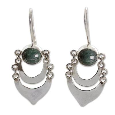 Fair Trade Sterling Silver and Jade Hand Made Earrings