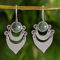 Dark green jade dangle earrings, 'Two Moons' - Fair Trade Sterling Silver Dark Green Jade Handmade Earrings