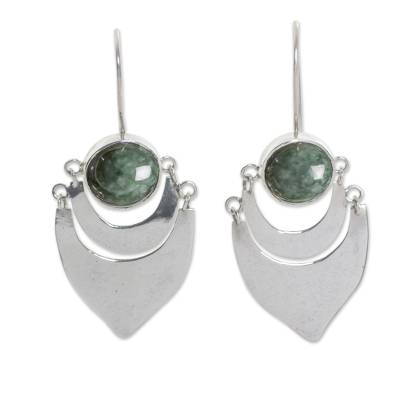 Fair Trade Sterling Silver Dark Green Jade Handmade Earrings