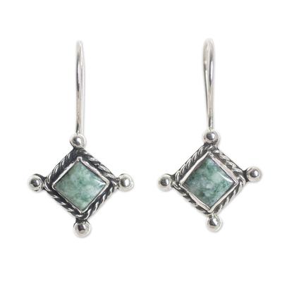 Rhombus Shaped Sterling Silver Earrings with Green Jade