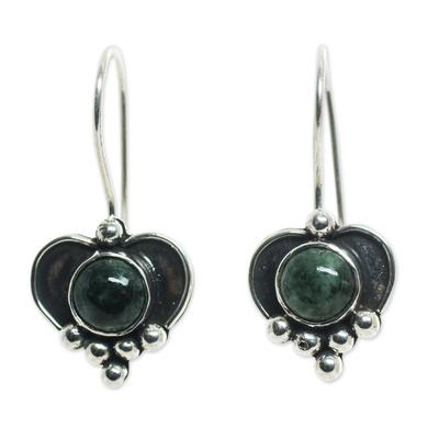 Sterling Silver Heart Earrings with Dark Green Jade