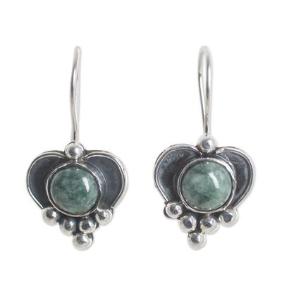 Sterling Silver Heart Earrings with Light Green Jade