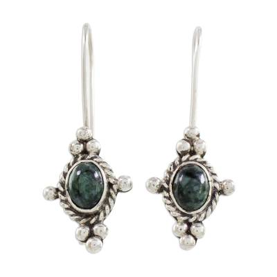 Fair Trade Jade and Sterling Silver Hand Made Earrings