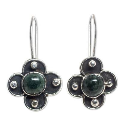 Hand Crafted Sterling Earrings with Deep Green Maya Jade