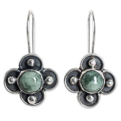 Hand Crafted Silver Earrings with Light Green Maya Jade