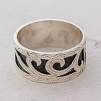 Sterling silver band ring, 'Climbing Leaves' - Artisan Crafted Sterling Silver Band Ring from Guatemala