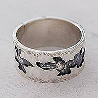 Sterling silver band ring, 'Iguanas' - Guatemalan Artisan Crafted Sterling Silver Band Ring