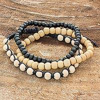 Men's pinewood beaded bracelets, 'All Natural' (set of 3) - Guatemalan Handcrafted Pinewood 3 Beaded Bracelets for Men