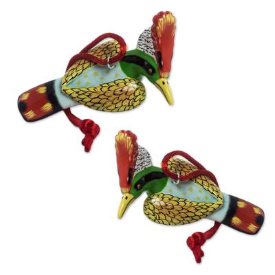 Ceramic ornaments, 'Hummingbird Coquette' (pair) - Handcrafted colourful Ceramic Hummingbird Ornaments (Pair)