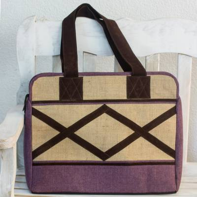 Jute and linen travel bag, Lilac Voyage