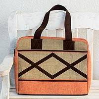 Jute and linen travel bag, 'Orange Voyage' - Travel Bag in Jute and Linen with Suede Leather Accents