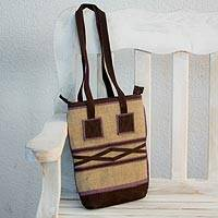 Jute and linen shoulder bag Lilac Whisper Guatemala