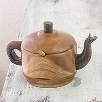 Mahogany and granadillo wood sugar bowl, 'Tea Time' (3 pieces) - Mahogany and Granadillo Wood Sugar Bowl and Spoon