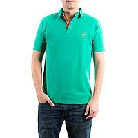 Men's cotton jersey polo shirt, 'Maya Jade' - Men's Green Cotton Polo Shirt from Guatemala