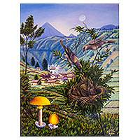 'A Nest of Lovebirds' - Guatemalan Volcano and Birds Landscape Signed Painting