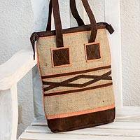 Jute and linen shoulder bag Orange Whisper Guatemala