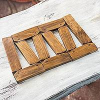 Wood trivet, 'Versatile Nature' - Hand Crafted Wood Adjustable Adaptable Trivet