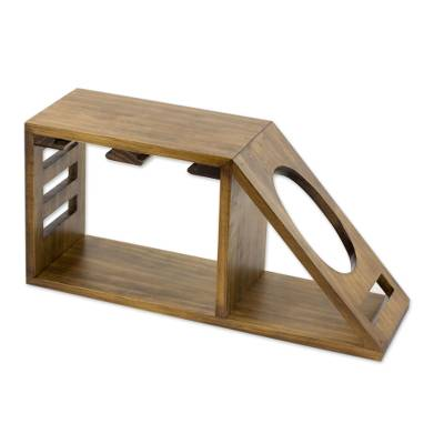 Artisan Crafted Wood Holder for Wine Bottle and Glasses