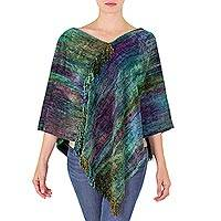 Cotton blend poncho, 'Magical Forest' - Handcrafted Cotton Bamboo fibre Blend Poncho