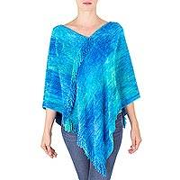 Cotton blend poncho, 'Magical Lagoon' - Blue Hand Woven Cotton Bamboo fibre Blend Poncho