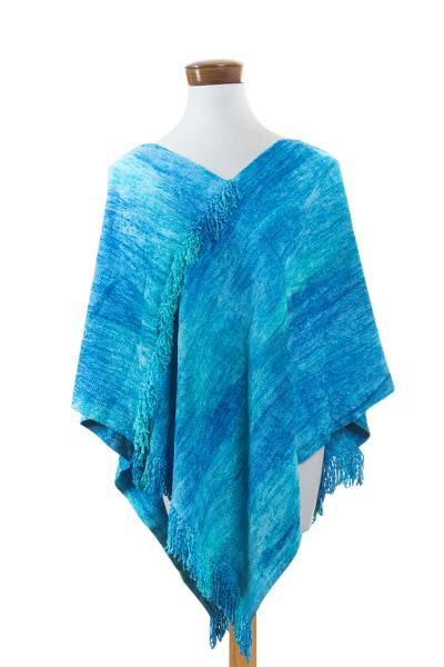 Cotton blend poncho, 'Magical Lagoon' - Blue Hand Woven Cotton Blend Poncho