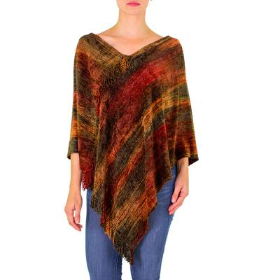 Brown Orange Handmade Cotton Bamboo Fiber Blend Poncho