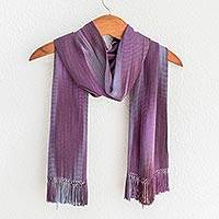 Rayon chenille scarf, 'Iridescent Lavender' - Hand Made Guatemalan Bamboo Scarf in Purple Tones