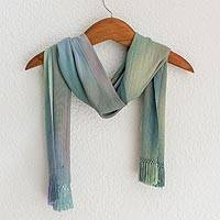 Rayon chenille scarf, 'Iridescent Blue Pastels' - Blue Green Lilac Guatemalan Scarf Hand Woven Bamboo