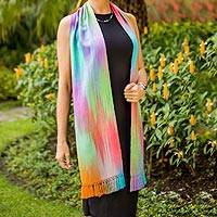 Rayon chenille scarf, 'Iridescent Rainbow Pastel' - Pastel Multi colour Guatemalan Scarf Hand Woven Bamboo