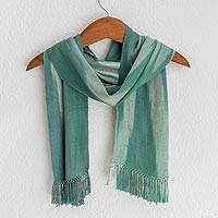 Rayon chenille scarf, 'Iridescent Eucalyptus' - Rayon Chenille Hand Woven Green White Guatemalan Scarf