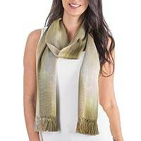 Rayon chenille scarf, 'Iridescent Olive' - Grey Olive Green Hand Made Bamboo Scarf