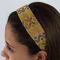 Cotton headband, 'Tropical Whisper' - Artisan Crafted Cotton Head Band in Green and Pink