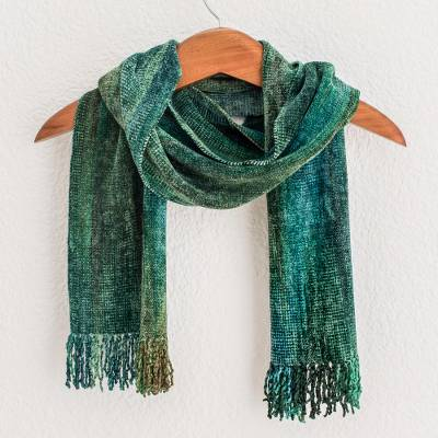 Rayon chenille scarf, 'Precious Teal' - Teal and Blue Backstrap Loom Rayon Chenille Scarf