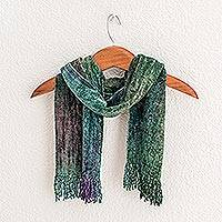 Rayon chenille scarf, 'Enchanted Forest' - Handwoven Teal Bamboo Chenille Scarf from Guatemala