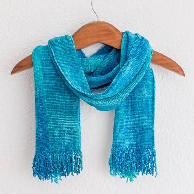 Rayon chenille scarf, 'Radiant Lagoon' - Blue Backstrap Loom Rayon Chenille Scarf