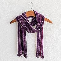Rayon chenille scarf, 'Maya Lilacs' - Purple and Lavender Handmade Striped Chenille Scarf