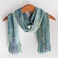 Rayon chenille scarf, 'Enchanted Sky' - Handwoven Mint and Aqua Rayon Chenille Scarf from Guatemala