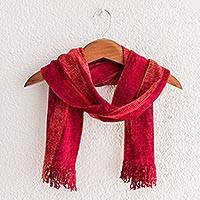 Rayon chenille scarf, 'Crimson Embrace' - Red and Burgundy Handwoven Rayon Chenille Scarf